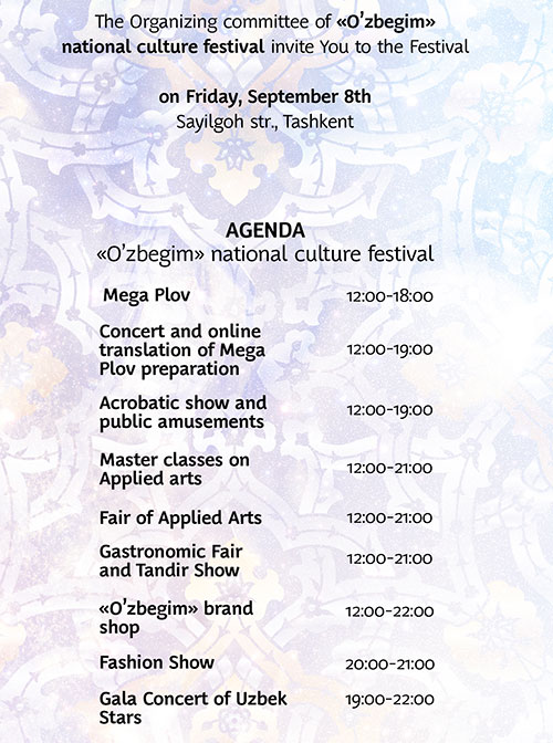 AGENDA of the Festival of Traditional Culture O'zbegim
